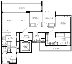 leedon-green-3-bedroom-utility-private-lift-floor-plan-c3-singapore