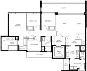leedon-green-4-bedroom-utility-private-lift-floor-plan-d1-singapore