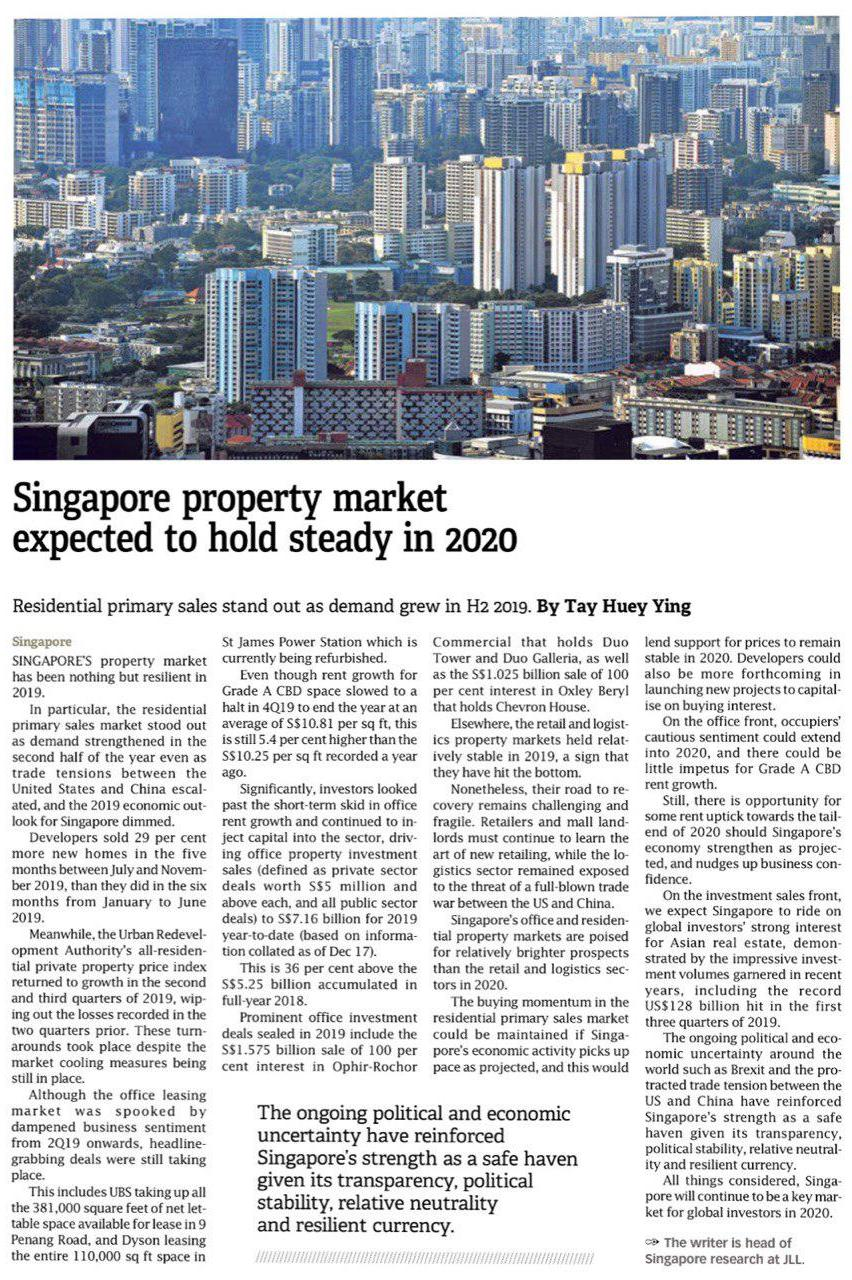 Singapore property market expected to hold steady in 2020